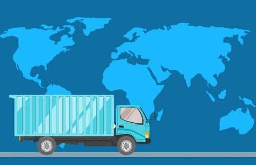 illustration d'un camion devant une carte du monde